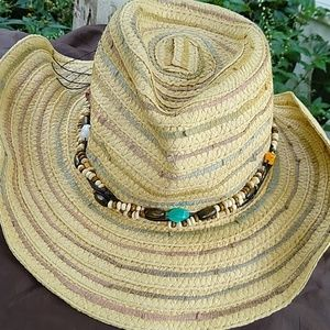 Maurice's straw hat with beaded accents
